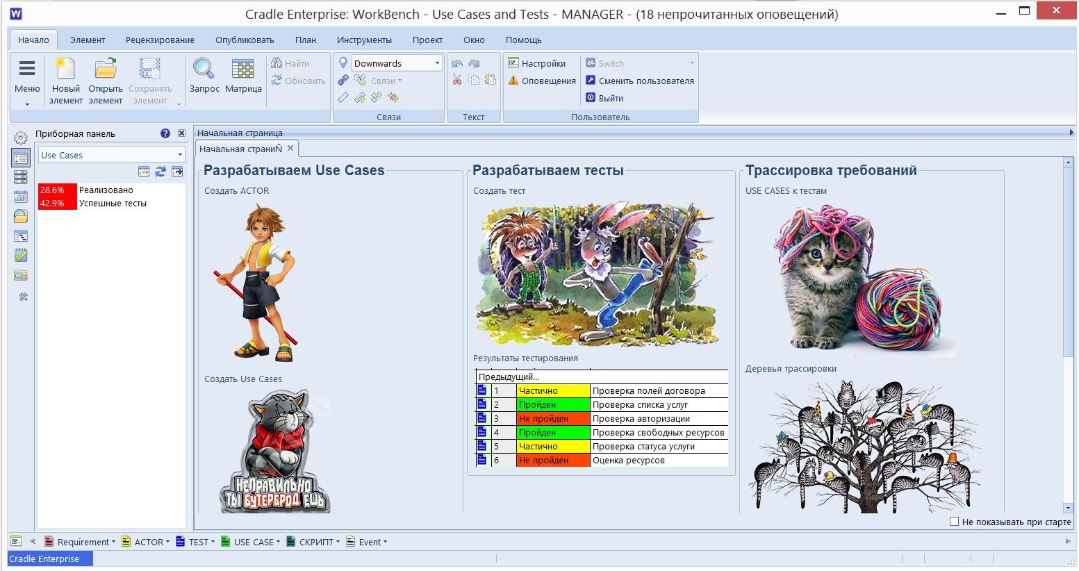 Пример стартовой страницы проекта, в котором работа построена вокруг Use Cases